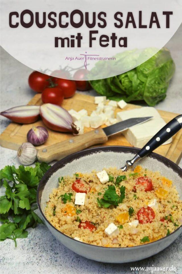 Couscous Salat mit feta - fitness pin - die frau am grill