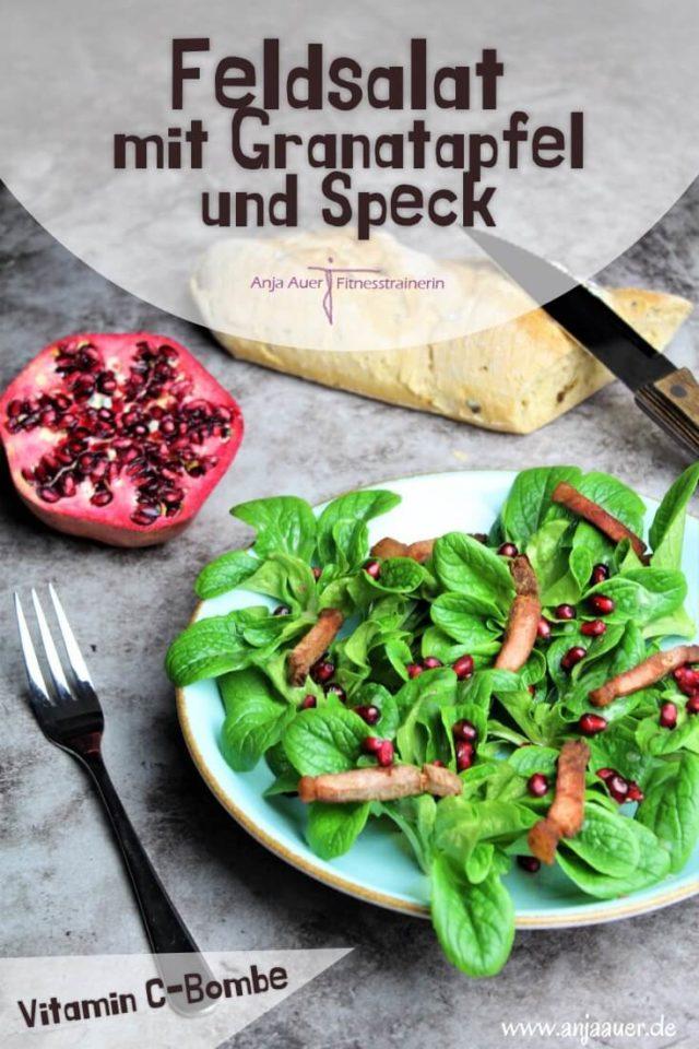 Feldsalat mit Granatapfel und Speck - anja auer pilates trainer